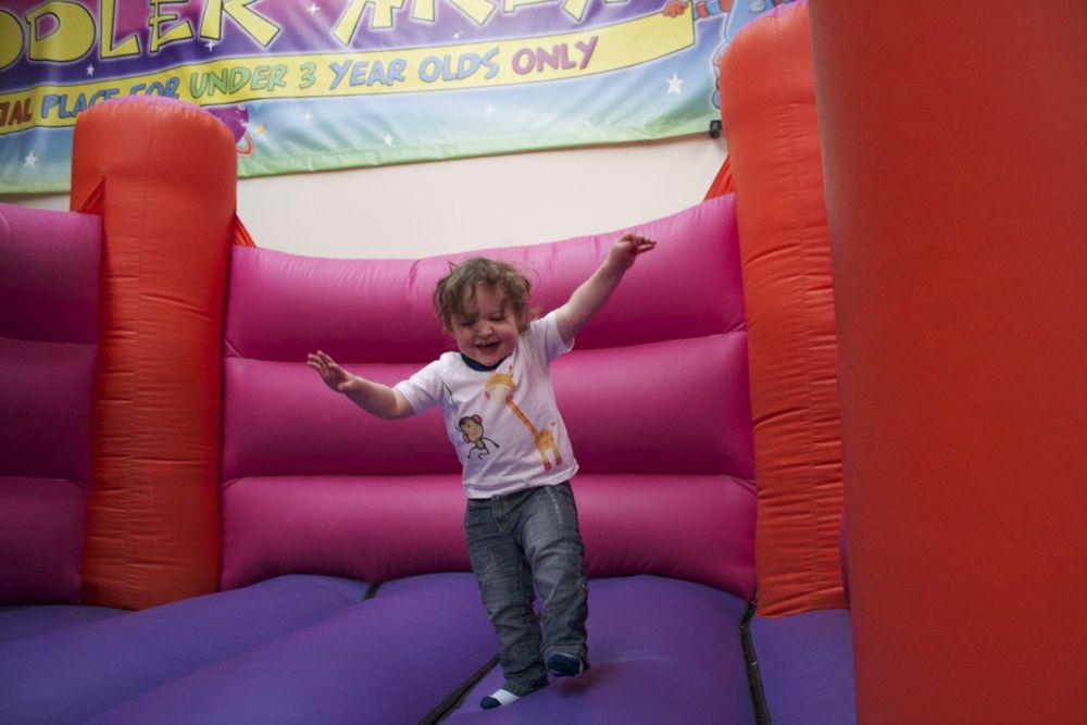 Ben on the bouncy castle