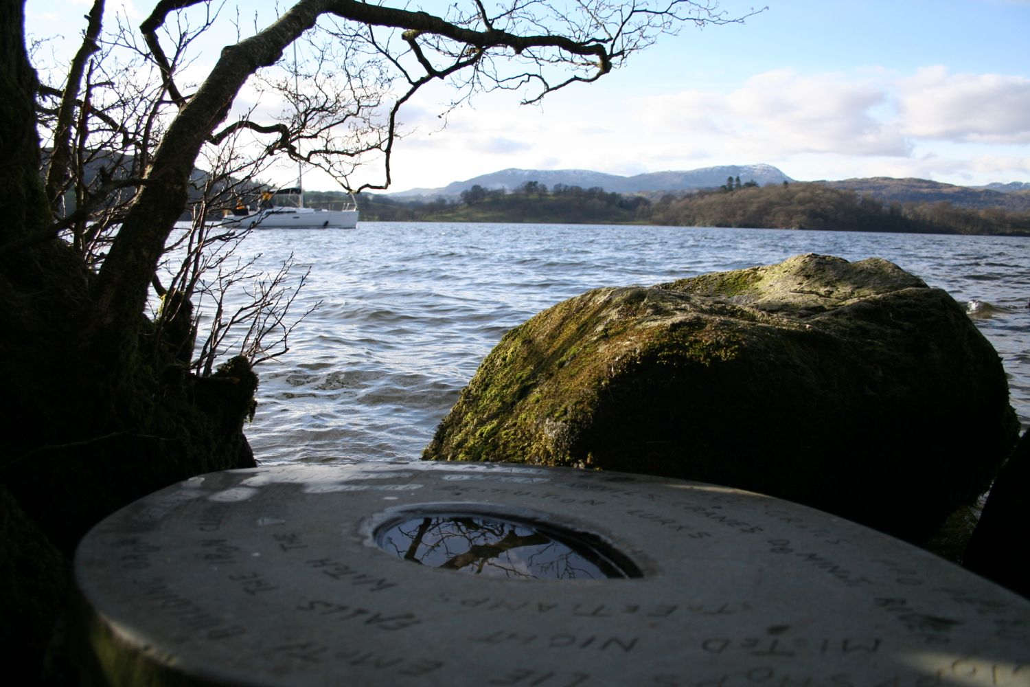 Sculpture on a rock in the Lake itself