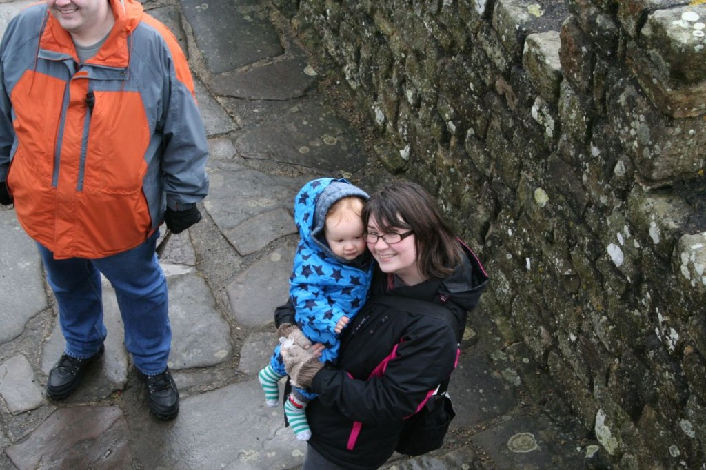 Elliott and mummy on the battlements