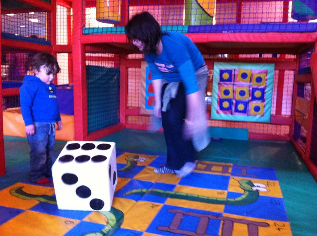 Giant dice in the soft play