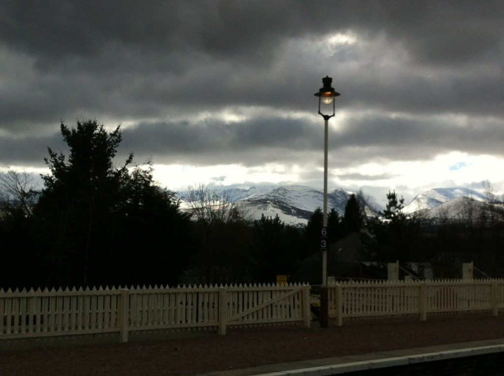 View from the Aviemore railway station in the early morning